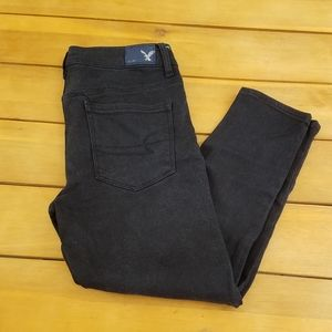 American Eagle Black High Rise Crop Jeggings